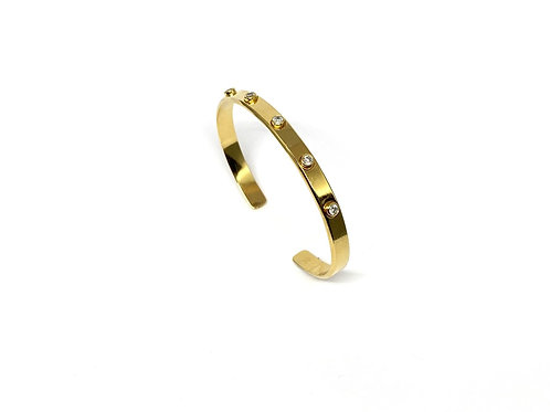 Bracelet jonc plat relief 5 Zircons en argent plaqué Or