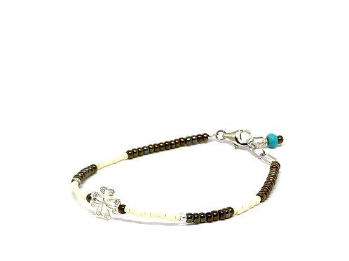 Bracelet Mini trésor trèfle perlines  blanches