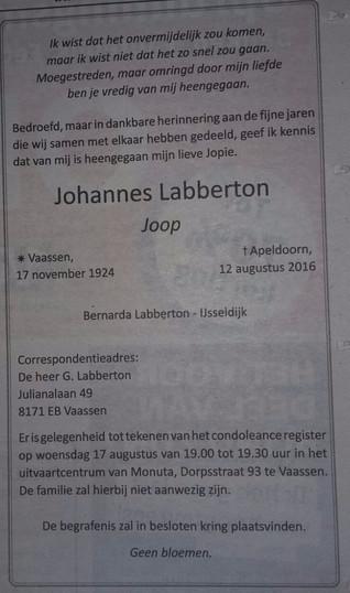 Erelid Joop Labberton overleden