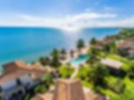 Aerial shot of Hopkins Bay Resort in Belize.