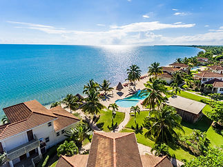 Aerial shot of Hopkins Bay Resort in Belize.