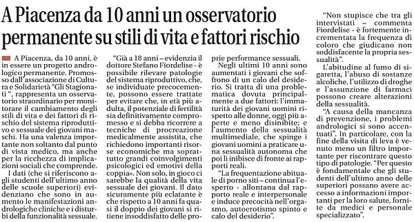 A Piacenza da 10 anni un osservatorio permanente su stili di vita e fattori rischio