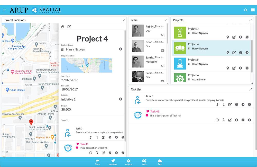 Mobilny i webowy Project Task Planner rozwijany przez nas dla firmy ARUP London (przykładowe dane wygenerowane komputerowo)