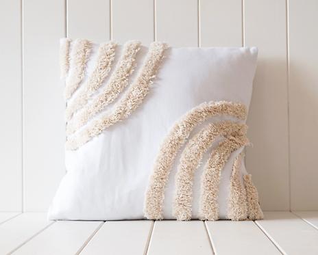 Tufted Cushion - Double Semi Rainbow Natural on White -45x45