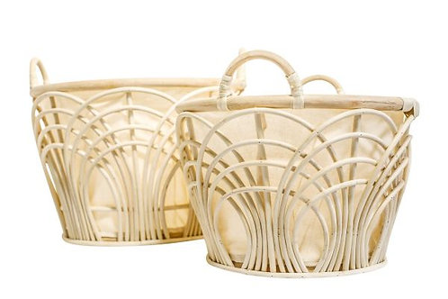 Natural Rattan Cane Baskets w Canvas Lining