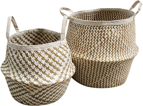 Belly Basket - White Woven