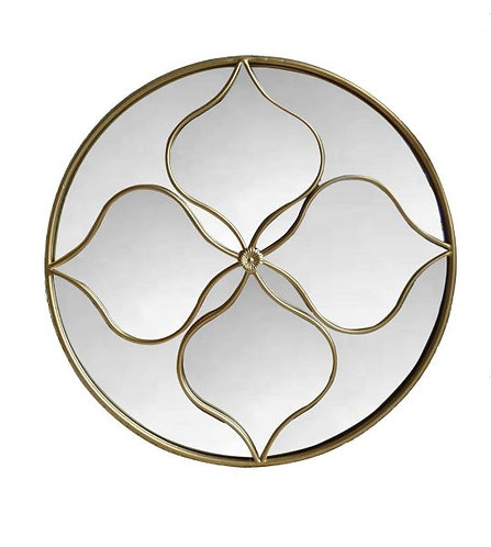 Patterned Gold Round Mirror