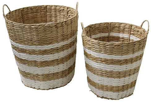 White Stripe Baskets