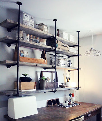 Shelves with pipes