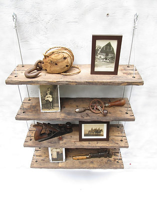 Barn wood shelves with metal wires