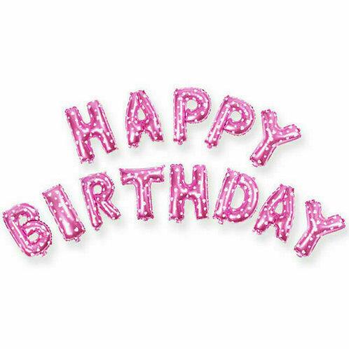 Pink (Hearts) Happy Birthday