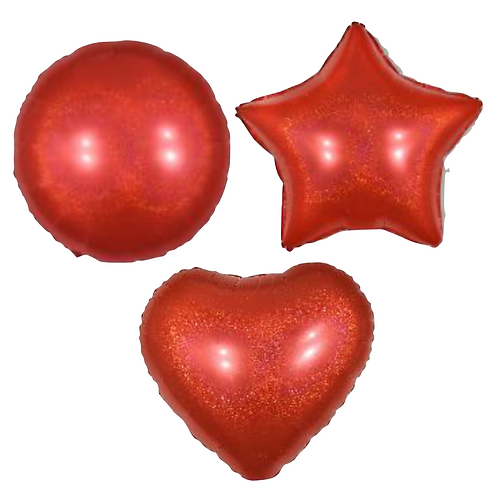 Red Holo Heart/Star/Round