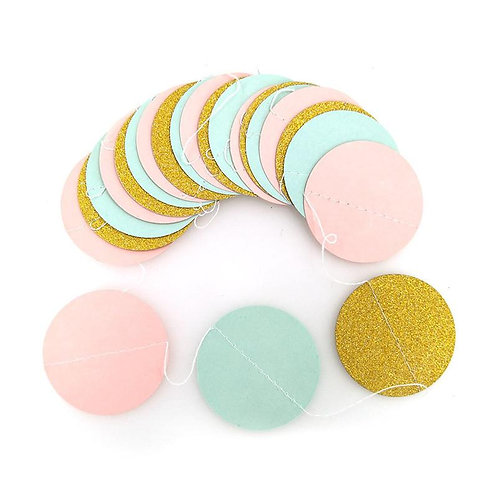 Circle - Gold + Mint + Pink