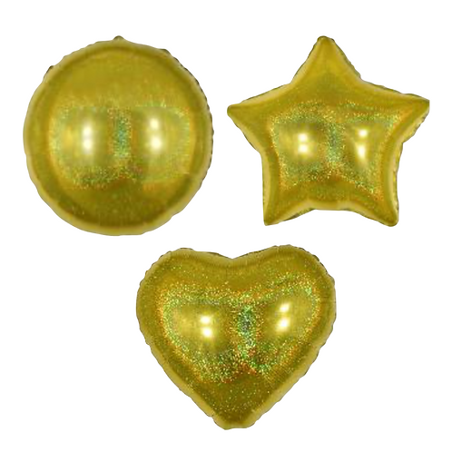 Gold Holo Heart/Star/Round