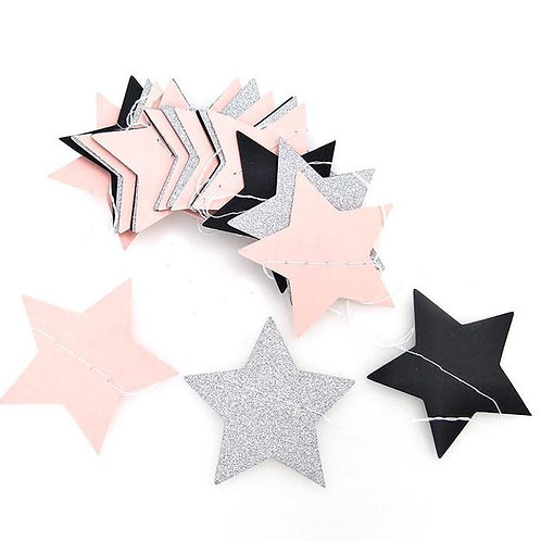 Stars - Silver + Pink + Black