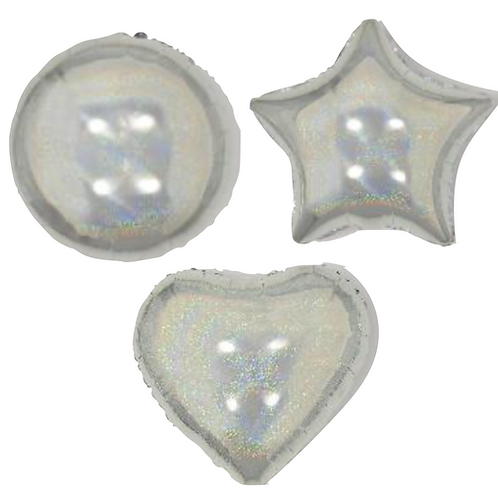 Silver Holo Heart/Star/Round