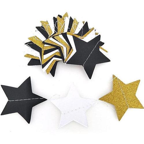 Stars - Gold + White + Black