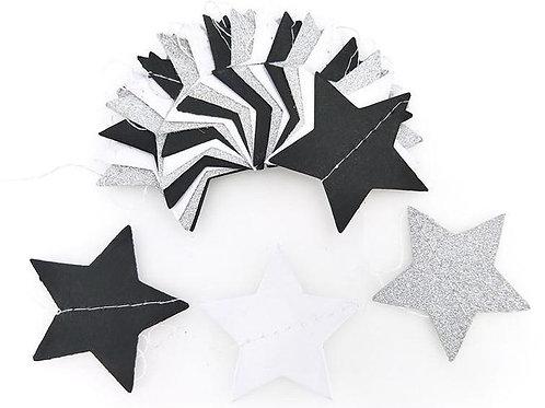 Stars - Silver + White + Black
