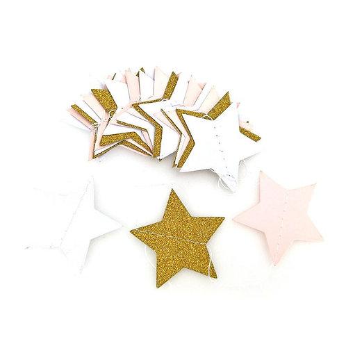 Stars - Gold + White + Pink