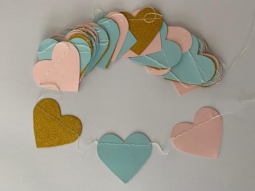 Heart - Gold + Blue + Pink
