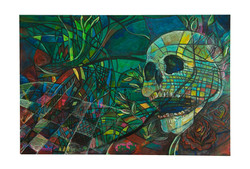 Skull Painting (After Julian Lesser) 80 x 120 cm Acrylic and Mixed media on Board