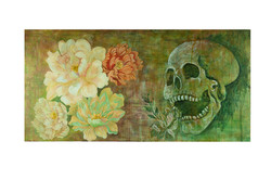 Life and Death Skull Painting 60 x 120 cm Acrylic and Mixed Media on Board