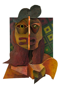 Self Portrait in Cubist Style 100 x 75 x 25cm Mixed Media Construction