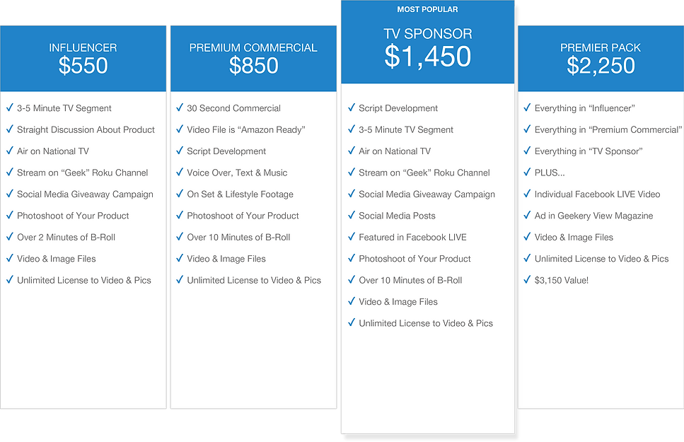 The Geekery View - Pricing Boxes - Sept