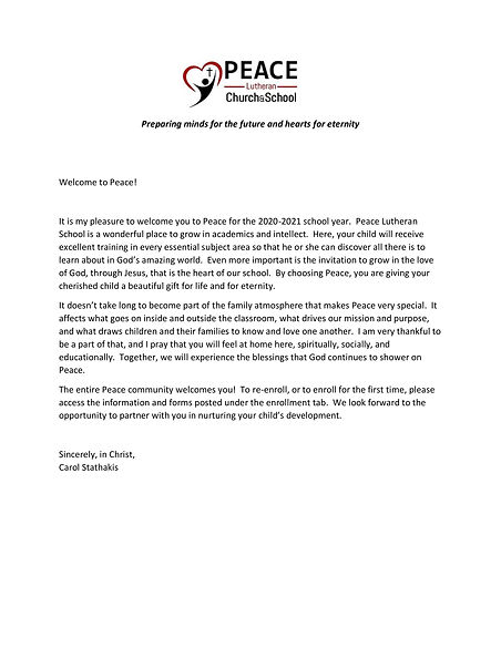 A Welcome to Peace - website letter at e