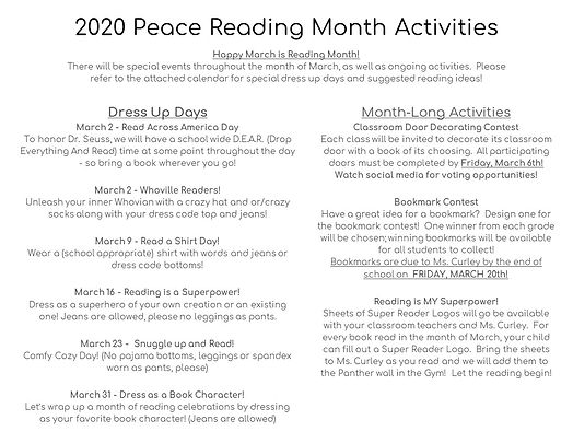 2020 March is Reading Month Send Home Pa