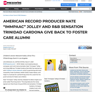 """AMERICAN RECORD PRODUCER NATE """"IMMPAAC"""" JOLLEY AND R&B SENSATION TRINIDAD CARDONA GIVE BACK TO FOSTER CARE ALUMNI"""