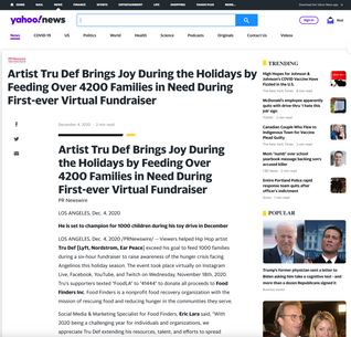 Artist Tru Def Brings Joy During the Holidays by Feeding Over 4200 Families in Need During First-ever Virtual Fundraiser