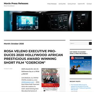 "ROSA VELENO EXECUTIVE PRODUCES 2020 HOLLYWOOD AFRICAN PRESTIGIOUS AWARD WINNING SHORT FILM ""COERCION"""