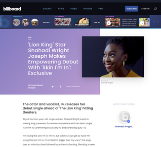 'Lion King' Star Shahadi Wright Joseph Makes Empowering Debut With 'Skin I'm In': Exclusive