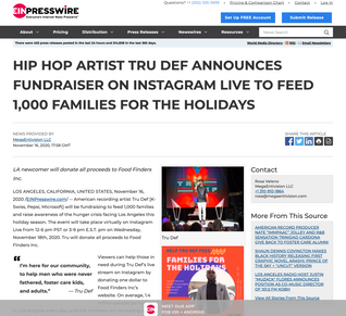 HIP HOP ARTIST TRU DEF ANNOUNCES FUNDRAISER ON INSTAGRAM LIVE TO FEED 1,000 FAMILIES FOR THE HOLIDAYS