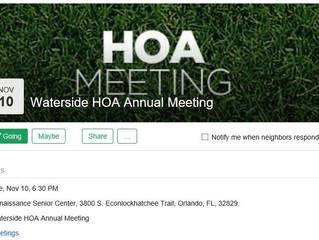 Waterside of Orange County Annual HOA Meeting