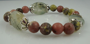 Heart Chakra Bracelet with Rhodonite and Prehnite