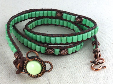 Turquoise Beads with Om Copper Clasp Leather Wrap Bracelet