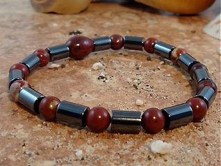 Hematite Bracelet with Red Brecciated Jasper