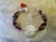 Root Chakra Gemstone Bracelet with Sterling Silver Sanskrit emblem
