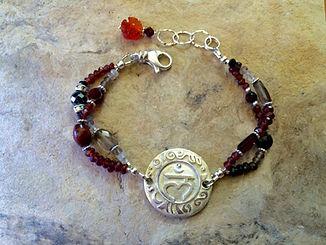 Root Chakra Gemstone Bracelet with Sterling Silver Sanskrit emblem