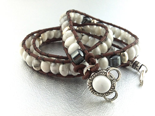 Howlite Leather Wrap Bracelet