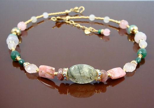 Heart Chakra Necklace with Rhodochrosite