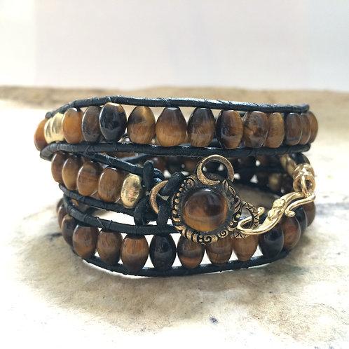 Tiger Eye Wrap Leather Wrap Bracelet