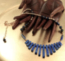 Lapis fan Necklace