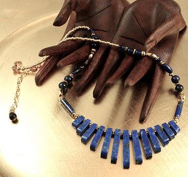 Lapis fan Necklace