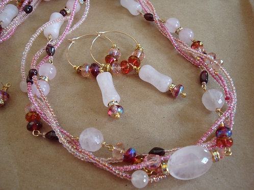 Rose Quartz Four Strand Necklace and Earrings