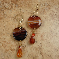 Red Agate and Carnelian Earrings with Gold-filled Lever Backs