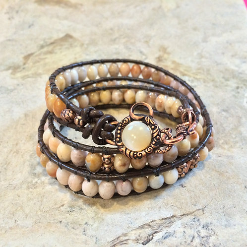 Golden Jade Leather Wrap Bracelet