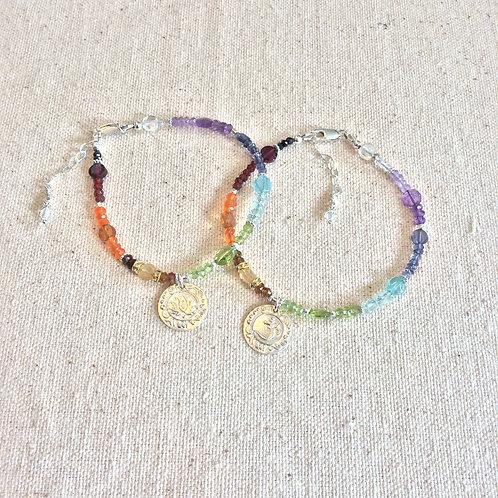 Tiny Om and Lotus All Chakra Bracelet
